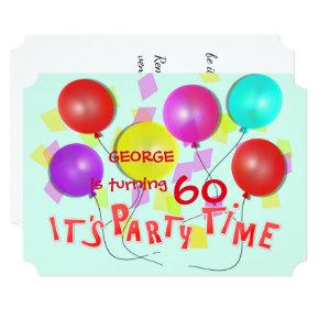 It's Party Time Colorful Balloons Personalized Invitation