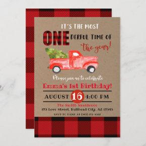 It's the most ONE-derful time of year 1st Birthday Invitation