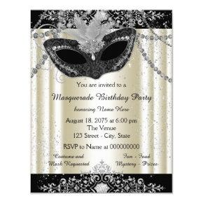 Ivory and Black Pearl Glitter Masquerade Party Invitations