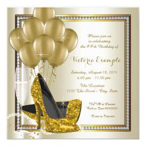 Ivory Gold Diamond High Heel Shoe Birthday Party Invitations