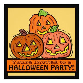 Jackolantern pumpkin family friendly party invites