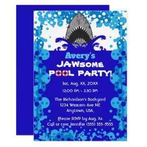 Jawsome Shark Themed Pool Party Birthday Invitation