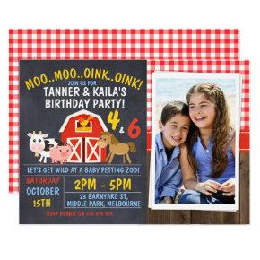 Joint Barnyard Chalkboard Birthday Invitation