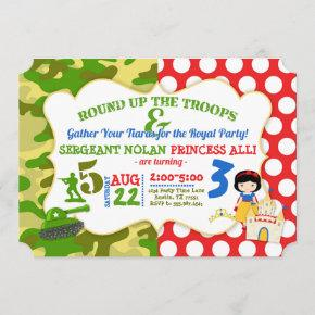 Joint Birthday Army Soldier Princess Invitation