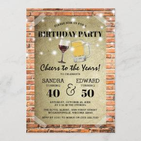 Joint Birthday Party | Cheers to the Years Invitation
