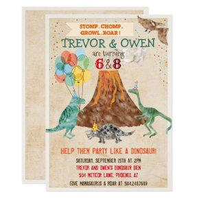 Joint Dual Dinosaur Volcano Birthday Invitation