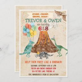 Joint Dual Dinosaur Volcano Birthday Invitation