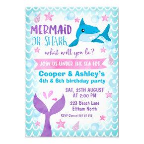 Joint Mermaid and Shark Birthday Invitations
