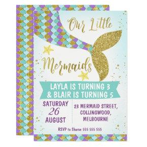 Joint Mermaid Tail Birthday Invitations