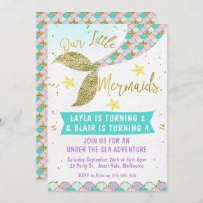 Joint or twins Mermaid Tail Birthday invitation