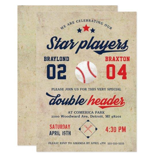 Joint Twin Baseball Birthday Invitation