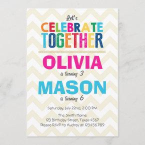 Joint twin birthday party invitation