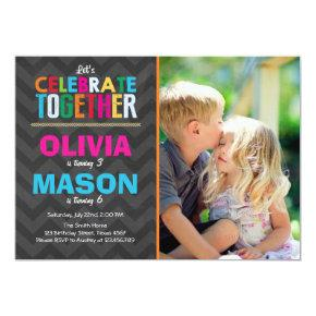Joint twin birthday party Invitations Boy Girl