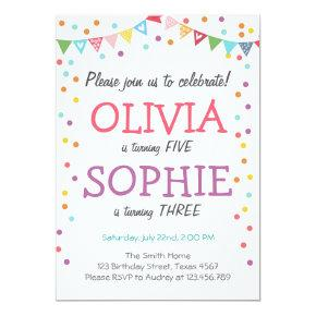 Joint twin birthday party invitation confetti