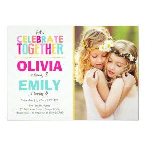 Joint twin birthday party Invitations Girls Pink