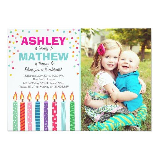 joint twin birthday party invitations twins dual candied clouds