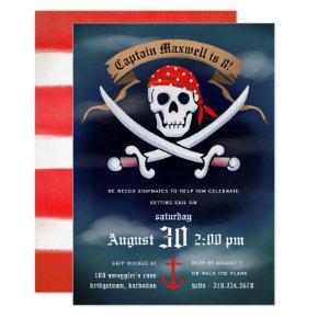 Jolly Roger Pirate Birthday Party Invitation