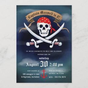 Jolly Roger Pirate Birthday Party Invitation