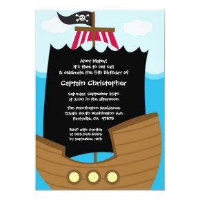 Jolly roger ship pirate birthday party invitation