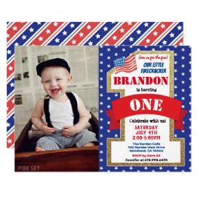 July 4th Fourth 1st First Birthday Boy Girl Photo Invitation