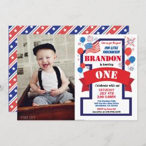 July 4th Fourth 1st First Birthday Boy Girl Photo Invitation