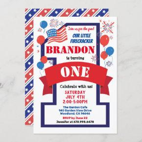 July 4th Theme 1st First Birthday Boy or Girl Invitation