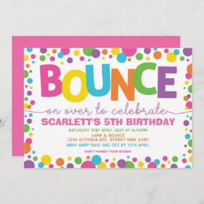 Jump Birthday Bounce House Trampoline Party Invitation