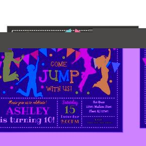 Jump Birthday Invitation Bounce House Trampoline