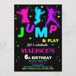Jump birthday invitation Bounce trampoline invite