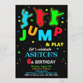 Jump birthday invitation Bounce trampoline park
