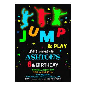 Jump birthday invitation Bounce trampoline park