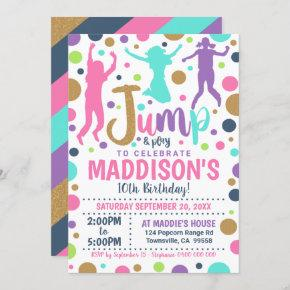 Jump Birthday Invitation Girl Jump Trampoline