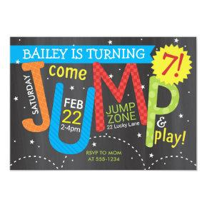 Jump Birthday Party - Brights on Chalkboard Invitation