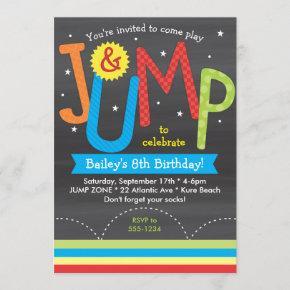Jump Birthday Party Colorful Chalkboard Invitation