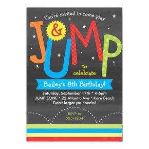 Jump Birthday Party Colorful Chalkboard Invitation