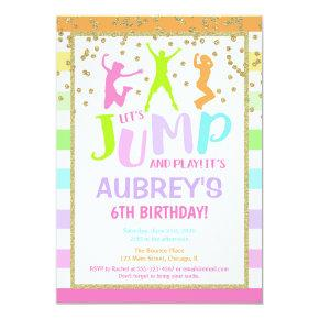 Jump birthday party girl, trampoline party invitation