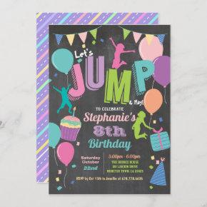 Jump birthday party. Girls trampoline chalkboard Invitation