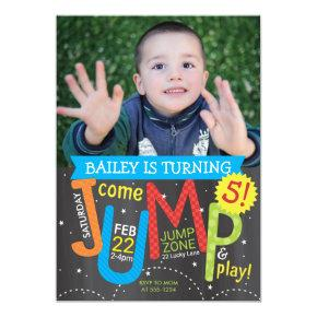 Jump Birthday Party Photo Brights on Chalkboard Invitation
