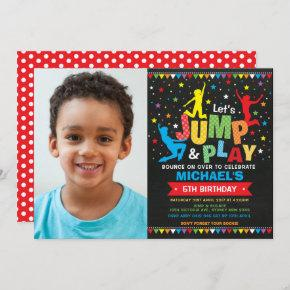 Jump Birthday Party Trampoline Bounce House Invitation
