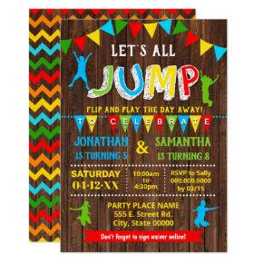 Jump birthday trampoline bounce combined party invitation