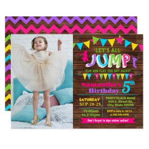 Jump birthday trampoline bounce house pink party invitation