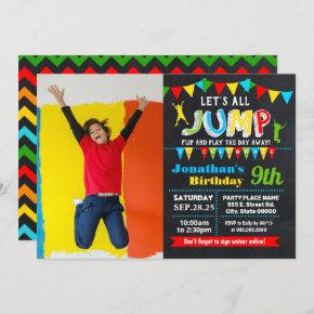 Jump birthday trampoline bounce party photo invitation