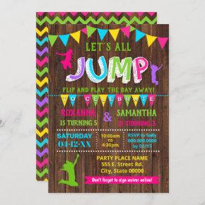 Jump birthday trampoline combined pink party invitation