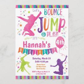 Jump Bounce House Trampoline Birthday Invitation