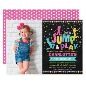 Jump Bounce House Trampoline Birthday Party Invitation