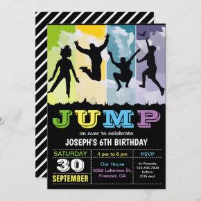 Jump Bounce House Trampoline Party Birthday Invite