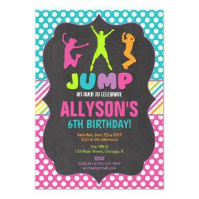 Jump bounce trampoline birthday party invitation