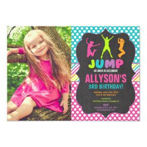 Jump bounce trampoline birthday party photo invitation