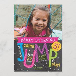Jump Girl Birthday Party Photo Pink on Chalkboard Invitation