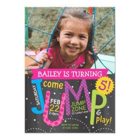 Jump Girl Birthday Party Photo Pink on Chalkboard Invitation
